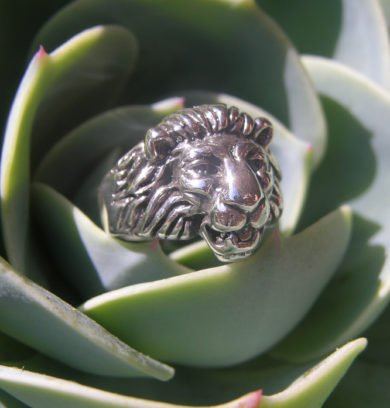 Small Lion Head Sterling Silver Ring