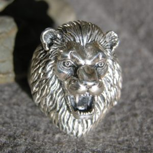 Sterling Silver Large Lion Head Ring
