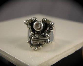 ShovelHead Engine Sterling Silver Ring