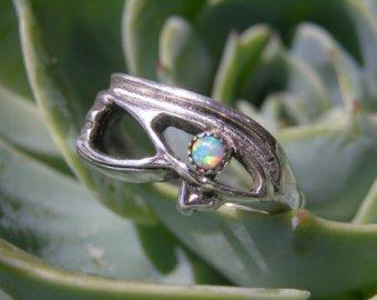 Egyptian Opal Eye of Horus Sterling Silver Ring