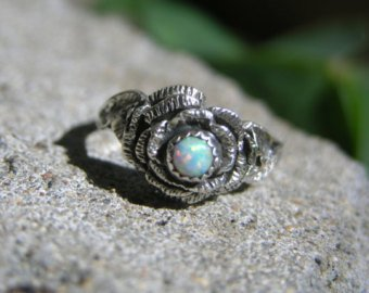 Sterling Silver Opal Rose Ring