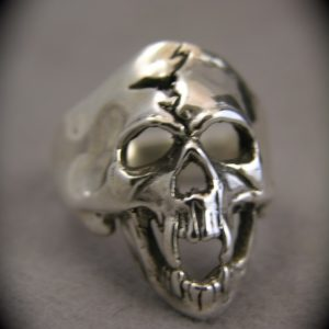 First Crack Skull Sterling Silver Ring