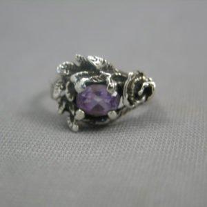 Amethyst Rose Sterling Silver Ring