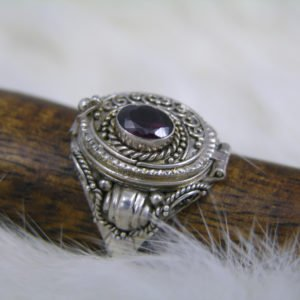 Amethyst Poison Ring in Sterling Silver