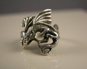 Medieval Dragon Ring in Sterling Silver