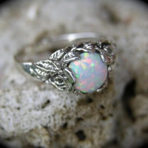 Sterling Silver Opal Rose Flower Ring