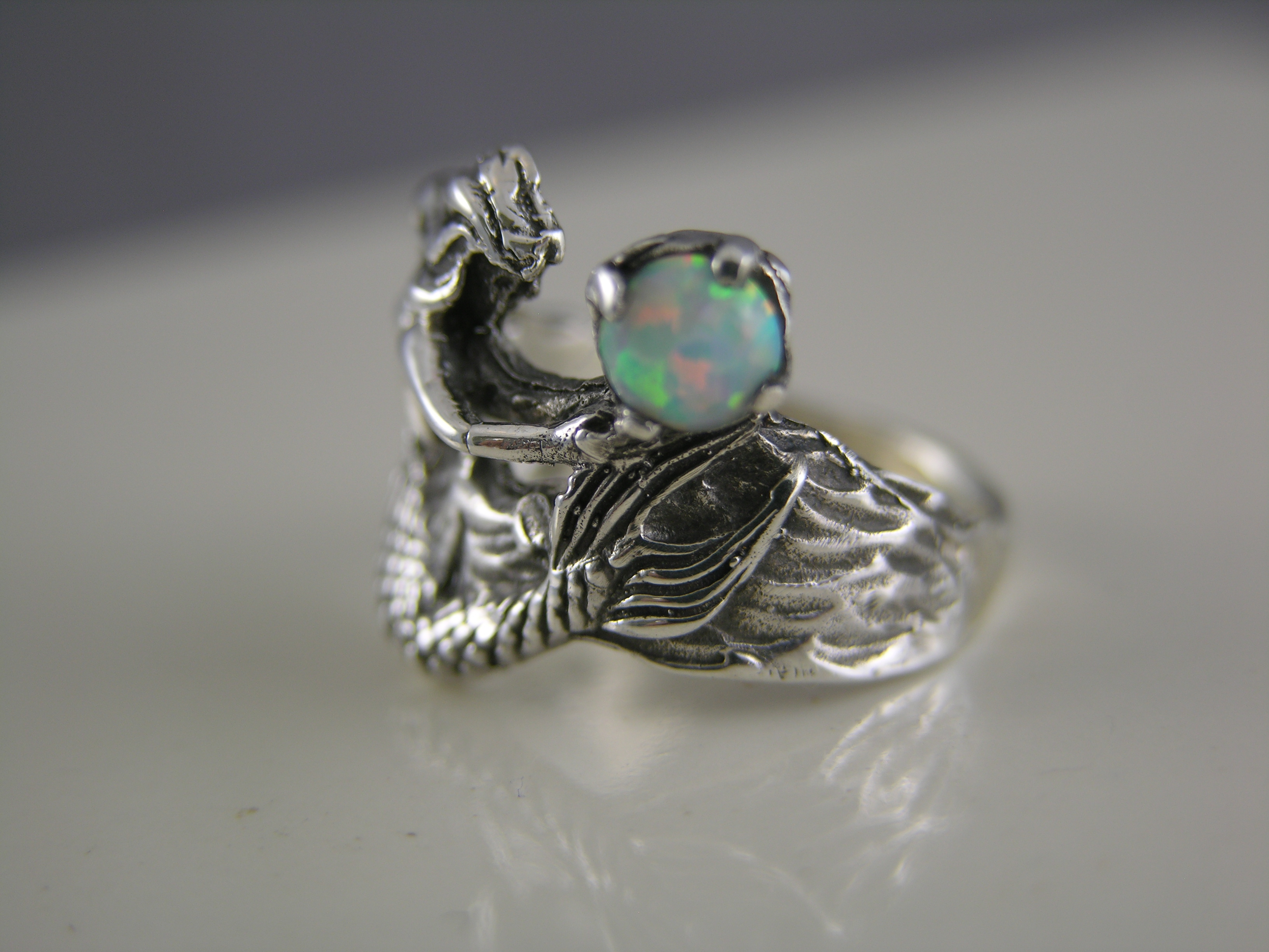 Sterling Silver Mermaid Ring With Opal Freedom Jewelry Usa