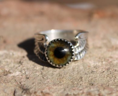 Sterling Silver Flying Eyeball Ring