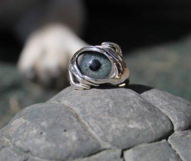 Sterling Silver 2 Hands Prosthetic Eye Ring ~ Order Here!