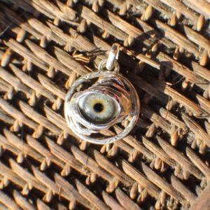 Sterling Silver Prosthetic Eye Two Hand Eye Pendant