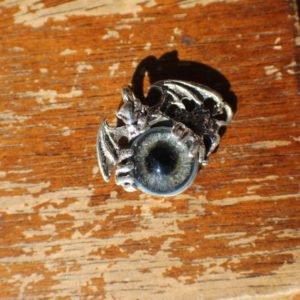 Sterling Silver Gargoyle Pendant with Prosthetic Eye