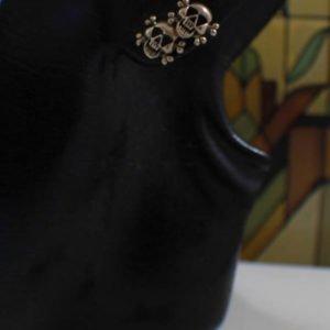 Sterling Silver Skull Crossbones Post Stud Earrings
