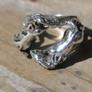 Large Sterling Double Horse Ring