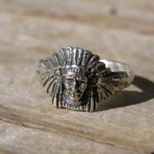 Sterling Silver Small Native American Indian Head Ring