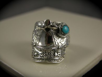Sterling Silver Large Saddle Ring with Turquoise