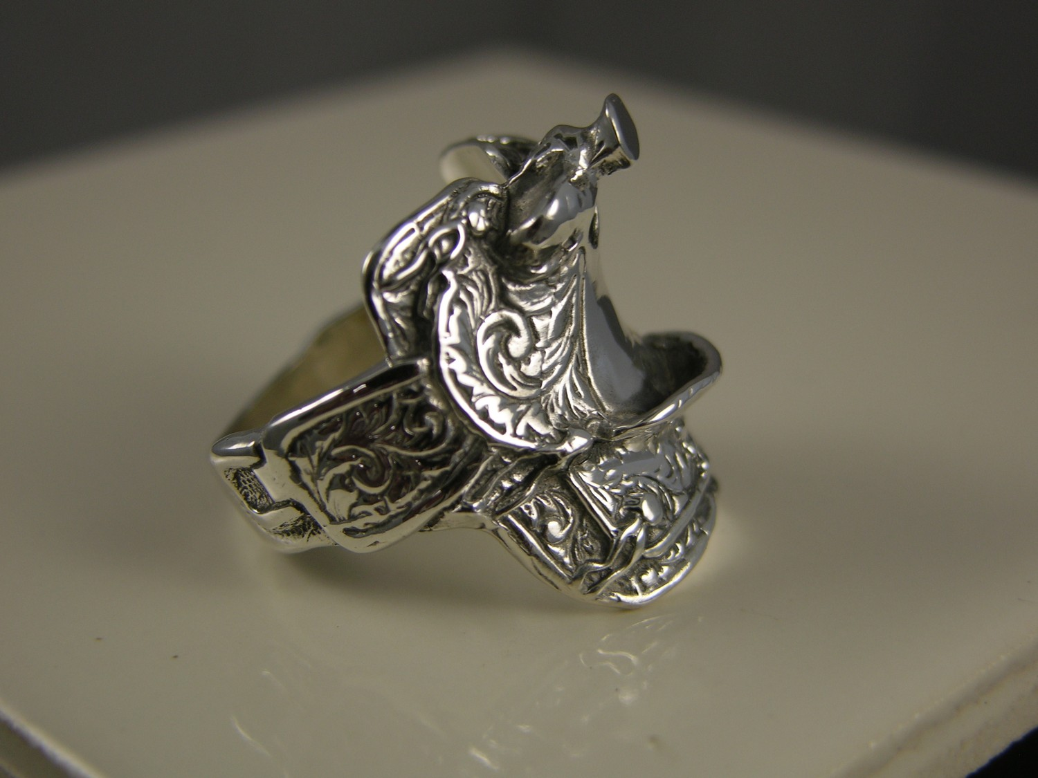 Mens Solid Silver Saddle Ring