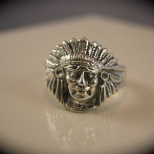 Sterling Silver Medium Indian Chief Head Ring