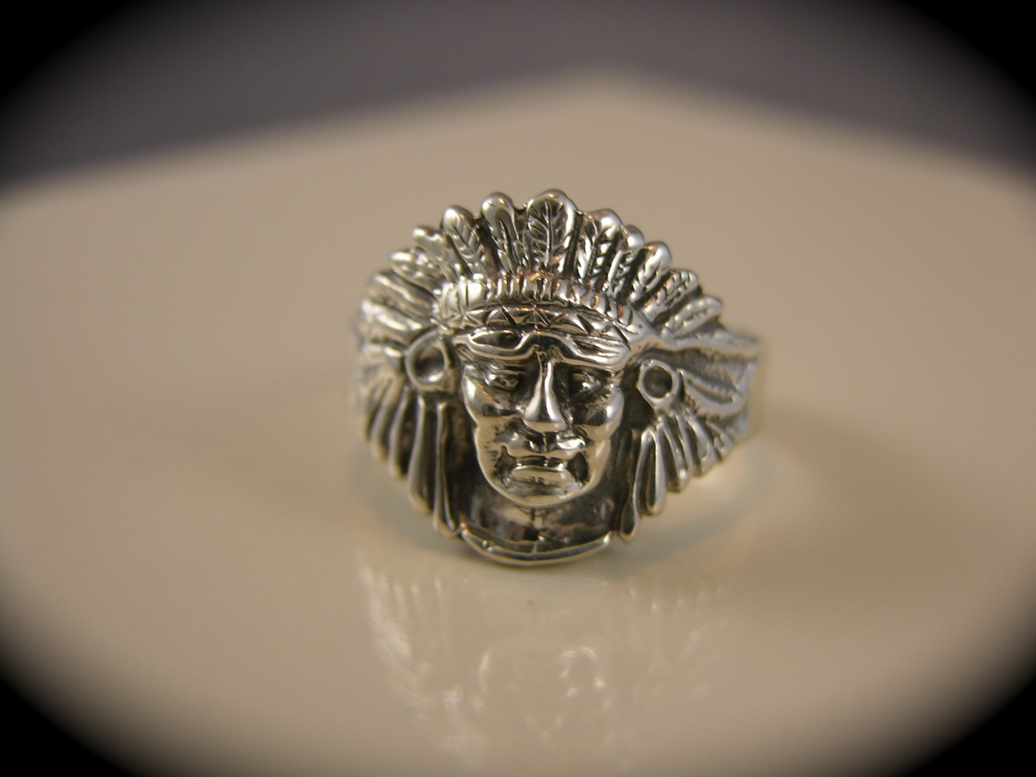 Sterling silver medium indian chief head ring for The sterling