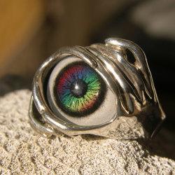 Sterling Silver Rainbow Glass Eye Ring