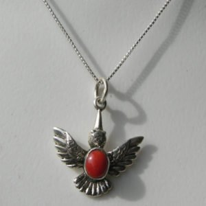 Sterling Silver Thunderbird Coral Pendant Charm