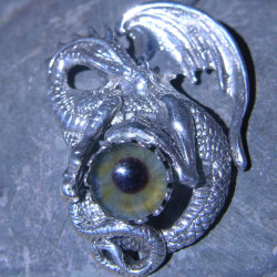 Sterling Silver Dragon Pendant with Prosthetic Eye