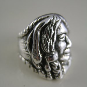 Sterling Silver Apache Native American Head Ring