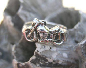 Sterling Silver Motorcycle Ring Band
