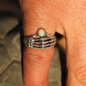 Sterling Silver Skeleton Hand Ring with Opal