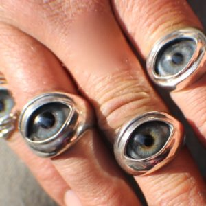 Sterling Silver Prosthetic Glass Eyelid Ring ~ Order Here