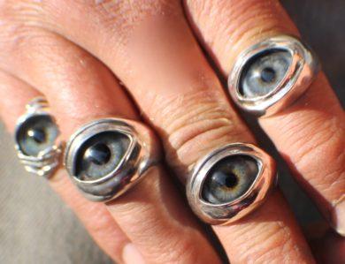 Sterling Silver Prosthetic Glass Eyelid Ring ~ Order Here
