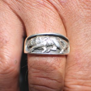 Sterling Silver Wolf Ring Band