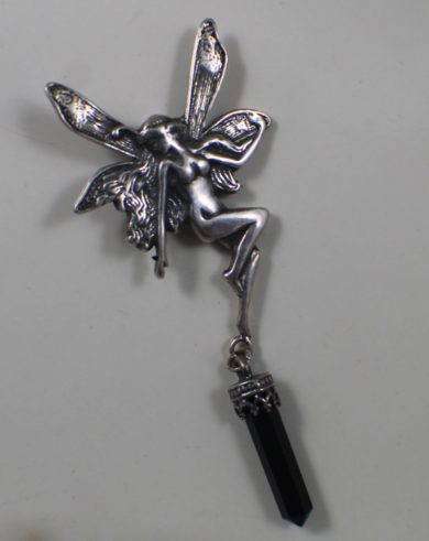 Sterling Silver Fairy Pendant with Onyx Stone