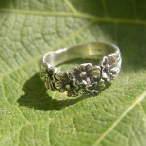 Sterling Silver Flower Ring Band