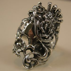 Solid Sterling Silver Deco Queen Ring
