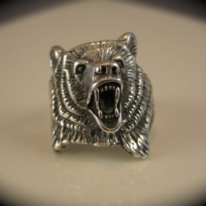 Sterling Silver Grizzly Bear Head Ring