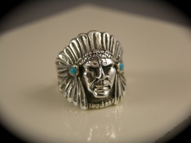 Sterling Silver American Indian Native Chief Head Ring with Turquoise Conchos