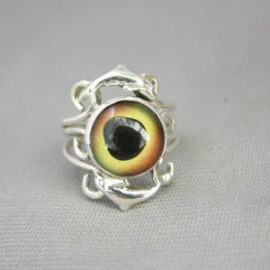 Sterling Silver Dolphin Glass Eye Ring Sz 8