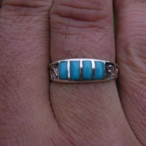 Sterling Silver Turquoise Inlay Band, size 11.5