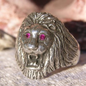 Large Sterling Lion Head Ring with Ruby Eyes size 12