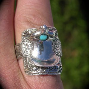 Sterling Silver Medium Size Saddle Ring with Turquoise