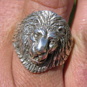 Large Sterling Lion Head Ring