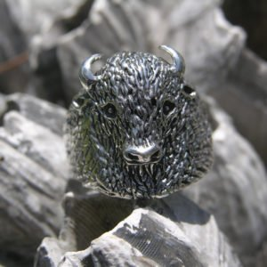 Large Sterling Silver Buffalo Ring Size 10