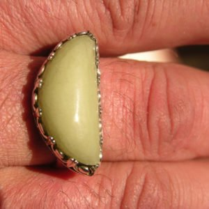 Size 11 Sterling Silver Glow in the Dark Stone Ring