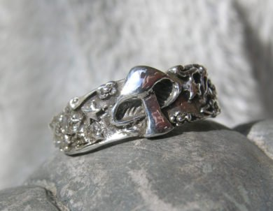 Sterling Silver Mushroom and Star Ring Band