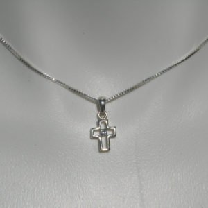 Sterling Silver Cross CZ Pendant Charm