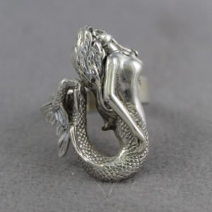 Sterling Silver Mermaid Ring Size 11
