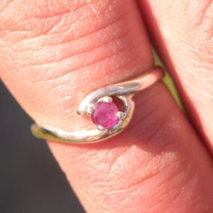 Sterling Silver  Ruby Ring Size 4