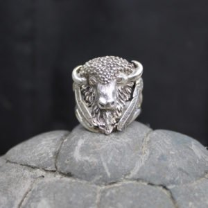 Large Sterling Silver Buffalo Head Ring with Feathers