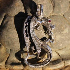 Sterling Silver Large Dragon Pendant with Ruby Eye
