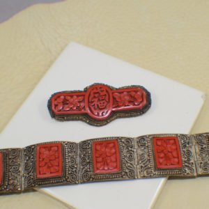 Antique Cinnabar Hinge Bracelet and Pin marked CHINA